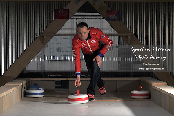 Tom Brewster at the opening of the new rooftop curling centre in East London. Sliders. Roof East. Stratford Shopping Centre. London. England. UK. 03/11/2016. ~ MANDATORY CREDIT Garry Bowden/SIPPA - NO UNAUTHORISED USE - +44 7837 394578