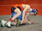 Anthony Mirra and Shane Connolly wrestle at the 96 weight class during the NY State Wrestling Championships at Blue Cross Arena on March 8, 2008 in Rochester, New York.  (Copyright Mike Janes Photography)
