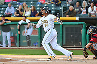 Jefry Marte (24) of the Salt Lake Bees at bat against the Sacramento River Cats in Pacific Coast League action at Smith's Ballpark on April 7, 2016 in Salt Lake City, Utah.  Salt Lake defeated Sacramento 5-2. (Stephen Smith/Four Seam Images)