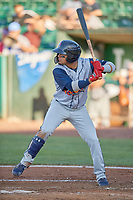 Bryan Torres (1) of the Rocky Mountain Vibes at bat against the Ogden Raptors at Lindquist Field on July 19, 2019 in Ogden, Utah. The Raptors defeated the Vibes 9-5. (Stephen Smith/Four Seam Images)