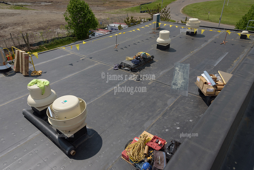 Roof Replacement and Mechanical Upgrades Stratford School For Aviation Maintenance Technicians.  Project No: BI-RT-860<br /> Contractor: Silktown Roofing, Manchester CT.<br /> James R Anderson Photography   New Haven CT   photog.com<br /> Date of Photograph: 15 May 2014<br /> Camera View: Northwest, Roof B  Image No. 29