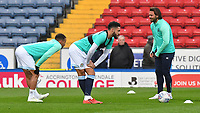Blackburn Rovers players warm up<br /> <br /> Photographer Dave Howarth/CameraSport<br /> <br /> The EFL Sky Bet Championship - Blackburn Rovers v Derby County -Tuesday 9th April 2019 - Ewood Park - Blackburn<br /> <br /> World Copyright &copy; 2019 CameraSport. All rights reserved. 43 Linden Ave. Countesthorpe. Leicester. England. LE8 5PG - Tel: +44 (0) 116 277 4147 - admin@camerasport.com - www.camerasport.com