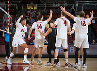 STANFORD, CA - January 17, 2019: Jaylen Jasper, Kyler Presho, Kyle Dagostino, Eric Beatty, Jordan Ewert at Maples Pavilion. The Stanford Cardinal defeated UC Irvine 27-25, 17-25, 25-22, and 27-25.