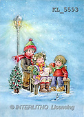 Interlitho, Dani, CHRISTMAS SANTA, SNOWMAN, nostalgic, paintings, 3 kids, bank, lantern(KL5593,#X#) Weihnachten, nostalgisch, Navidad, nostálgico, illustrations, pinturas