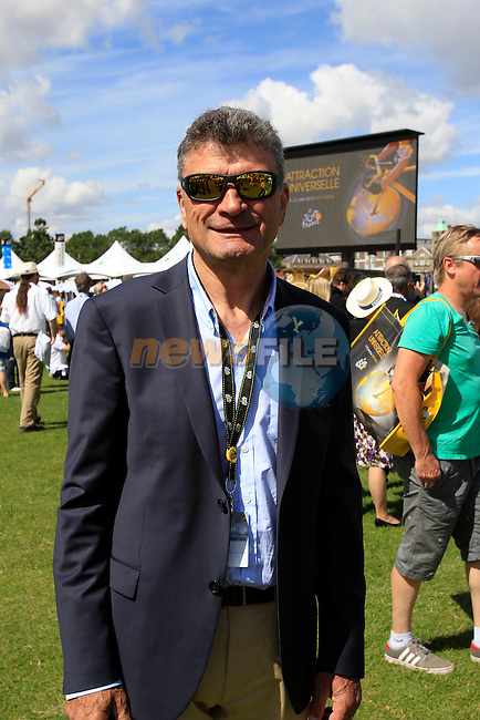 Former Tour winner Bernard Thevenet in the Tour Village in Cambridge before the start of Stage 3 of the 2014 Tour de France running 155km from Cambridge to London. 7th July 2014.<br /> Picture: Eoin Clarke www.newsfile.ie