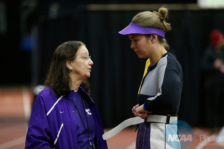 COLUMBUS, OH - MARCH 11: Texas Christian University head coach Karen Monez speaks with Mindy Miles during the Division I Rifle Championships held at The French Field House on the Ohio State University campus on March 11, 2017 in Columbus, Ohio. (Photo by Jay LaPrete/NCAA Photos via Getty Images)