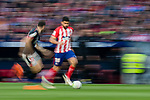 Diego Costa of Atletico de Madrid (R) fights for the ball with Unai Nunez Gestoso of Athletic Club de Bilbao (L) during the La Liga 2017-18 match between Atletico de Madrid and Athletic de Bilbao at Wanda Metropolitano  on February 18 2018 in Madrid, Spain. Photo by Diego Souto / Power Sport Images