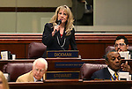Nevada Assemblywoman Jill Dickman, R-Sparks, speaks on the Assembly floor at the Legislative Building in Carson City, Nev., on Wednesday, May 13, 2015.<br /> Photo by Cathleen Allison