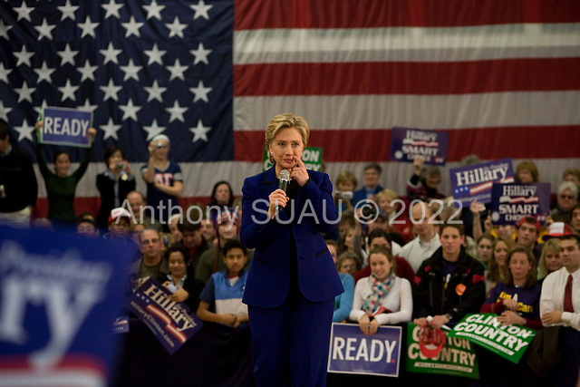 Dover, New Hampshire.January 7, 2008 ..Democratic presidential hopeful and New York Senator Hillary Clinton campaigns at the McConnell Center Gymnasium one day before the 08 January state primary..