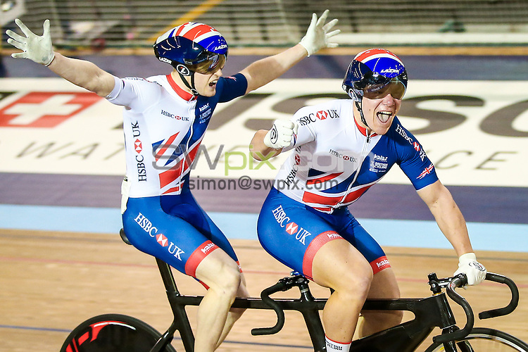 Picture by Alex Whitehead/SWpix.com - 05/03/2017 - Cycling - UCI Para-cycling Track World Championships - Velo Sports Center, Los Angeles, USA - Great Britain's James Ball (piloted by Matt Rotherham) celebrate winning the Men's Sprint final.
