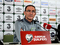 08/10/2015; UEFA Euro 2016 Group D Qualifier - Republic of Ireland v Germany, Aviva Stadium, Dublin. <br /> Ireland manager Martin O'Neill during the post match press conference.<br /> Picture credit: Tommy Grealy/actionshots.ie.