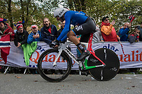 Gianni Moscon (ITA/SKY) up Mount Fløyen<br /> <br /> Men Elite Individual Time Trial<br /> <br /> UCI 2017 Road World Championships - Bergen/Norway