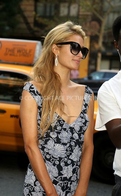 ACEPIXS.COM<br /> <br /> September 12 2014, New York City<br /> <br /> Paris Hilton arrives at a downtown hotel on September 12 2014 in New York City<br /> <br /> By Line: Philip Vaughan/ACE Pictures<br /> <br /> ACE Pictures, Inc.<br /> www.acepixs.com<br /> Email: info@acepixs.com<br /> Tel: 646 769 0430