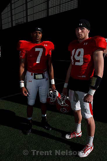 Salt Lake City - University of Utah quarterbacks Terrance Caine (7) and Corbin Louks, Thursday March 26, 2009..