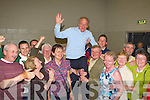 Michael Gleeson celebrates with supporters at the Kerry County Council Killarney area election count in the Aura Sports Centre in Killarney on Saturday.