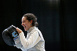 25 MAR 2016:  Columbia's Jackie Dubrovich enjoys a light moment during her women's foil final against Ohio State's Eleanor Harvey at the Division I Women's Fencing Championship held at the Gosman Sports and Convention Center in Waltham, MA.   Damian Strohmeyer/NCAA Photos