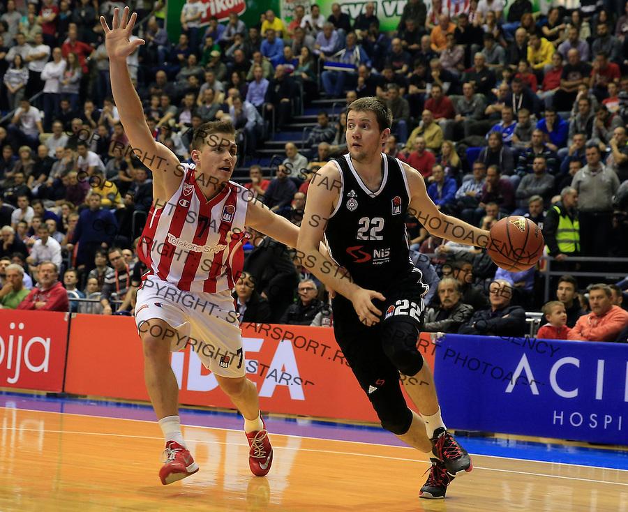 Kosarka ABA League season 2015-2016<br /> Crvena Zvezda v Partizan<br /> Andrija Milutinovic and Gal Mekel (L)<br /> Beograd, 03.11.2015.<br /> foto: Srdjan Stevanovic/Starsportphoto&copy;