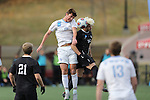 SALEM, VA - DECEMBER 3:Tyler Kulscar (16) of Tufts University and Isky Van Doorne (26) of Calvin College go up for a header during theDivision III Men's Soccer Championship held at Kerr Stadium on December 3, 2016 in Salem, Virginia. Tufts defeated Calvin 1-0 for the national title. (Photo by Kelsey Grant/NCAA Photos)