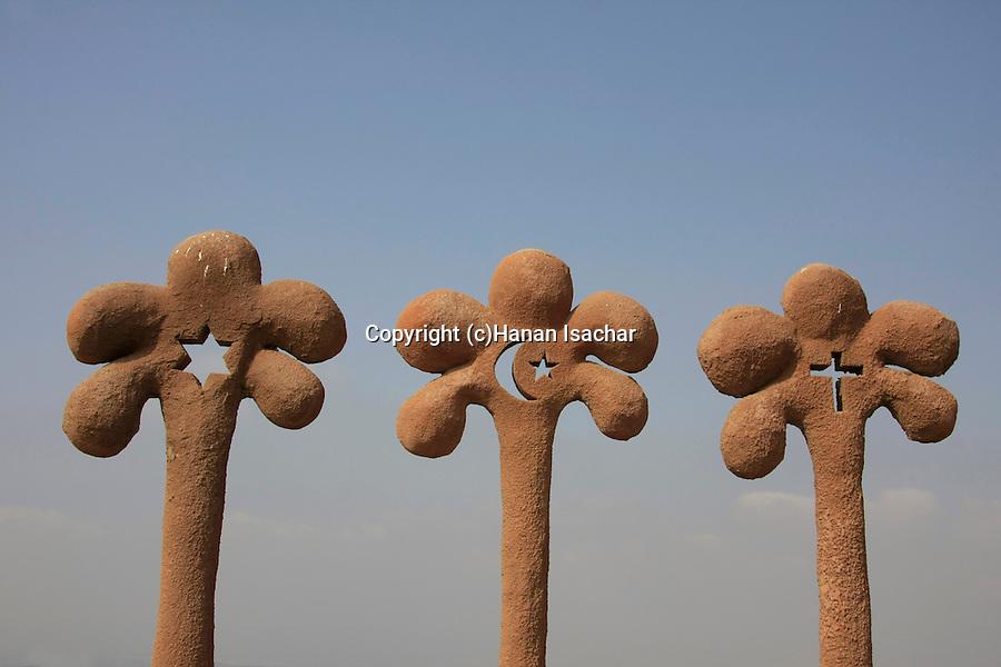 Israel, Lower Galilee, Orna Lutski's statue Three Palm Trees in Kaukab abu el Hija