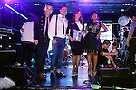 "MIAMI BEACH, FL - APRIL 27: Erick Cuesta, Guest, Maria Celeste Arraras and Elizabeth Ortiz onstage at the Billboard Latin Music Conference and Awards - day 1 during the ""Mas Y Mas Musica"" Sixth Edition Artist Showcase at Ocean's Ten on April 27, 2015 in Miami Beach, Florida. ( Photo by Johnny Louis / jlnphotography.com )"