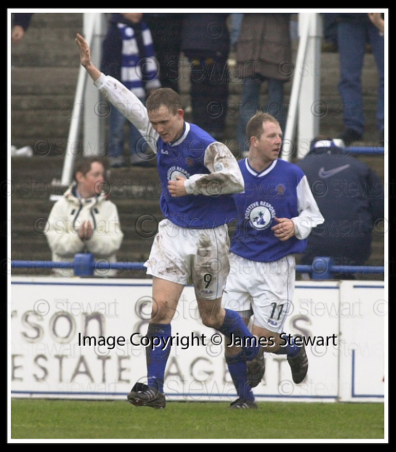 01/03/2003                   Copyright Pic : James Stewart.File Name : stewart-qots v falkirk 13.PETER WEATHERSON CELEBRATES SCORING THE WINNER...James Stewart Photo Agency, 19 Carronlea Drive, Falkirk. FK2 8DN      Vat Reg No. 607 6932 25.Office     : +44 (0)1324 570906     .Mobile  : +44 (0)7721 416997.Fax         :  +44 (0)1324 570906.E-mail  :  jim@jspa.co.uk.If you require further information then contact Jim Stewart on any of the numbers above.........
