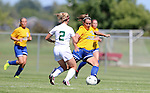 BROOKINGS, SD - SEPTEMBER 7:  Alyssa Brazil #15 from South Dakota State passes the ball around Emily Olson #2 from Bemidji State in the first half of their game Sunday in Brookings. (Photo/Dave Eggen/Inertia)