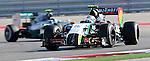 Formula 1 United States Grand Prix 2014, 31.10.-02.11.14<br /> Sergio Perez (MEX#11) Sahara Force India F1 Team, Nico Rosberg(GER#6), Mercedes AMG Petronas F1 Team<br /> Foto &copy; nordphoto /  Bratic
