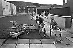 Lerwick, boys with home made go carts.  1970s Shetlands.