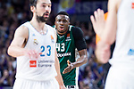 Real Madrid Sergio Llull and Panathinaikos Thanasis Antetokounmpo during Turkish Airlines Euroleague Quarter Finals 4th match between Real Madrid and Panathinaikos at Wizink Center in Madrid, Spain. April 27, 2018. (ALTERPHOTOS/Borja B.Hojas)