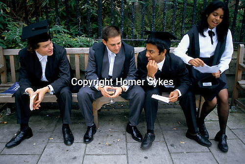 MAGDALEN COLLEGE STUDENTS AFTER MATRICULATION, OXFORD, 1995