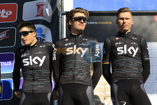 Team Sky on stage at sign on before the start of Gent-Wevelgem in Flanders Fields 2017, running 249km from Denieze to Wevelgem, Flanders, Belgium. 26th March 2017.<br /> Picture: Eoin Clarke | Cyclefile<br /> <br /> <br /> All photos usage must carry mandatory copyright credit (&copy; Cyclefile | Eoin Clarke)