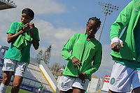 20190301 - LARNACA , CYPRUS : Nigerian defender Ngozi Ebere (left) and Nigerian defender Josephine Chukwunonye (right) pictured during a women's soccer game between Slovakia and Nigeria , on Friday 1 March 2019 at the Antonis Papadopoulos Stadium in Larnaca , Cyprus . This is the second game in group C for both teams during the Cyprus Womens Cup 2019 , a prestigious women soccer tournament as a preparation on the Uefa Women's Euro 2021 qualification duels and FIFA Women's World Cup 2019 in France . PHOTO SPORTPIX.BE | STIJN AUDOOREN