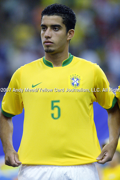 30 June 2007: Brazil's Roberto. At Le Stade Olympique in Montreal, Quebec, Canada. Poland's Under-20 Men's National Team defeated Brazil's Under-20 Men's National Team 1-0 in a Group D opening round match during the FIFA U-20 World Cup Canada 2007 tournament.