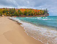 Pictured Rocks National Lakeshore, MI: Chapel Beach along Lake Superior with Grand Portal Point in fall color