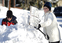 Digging Out After Winter Storm Jonas in Newtown, Pennsylvania