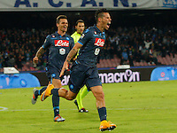 Marek Hamsik  celebrates after scoring during the Italian Serie A soccer match between SSC Napoli and Verona  at San Paolo stadium in Naples, October 26, 2014