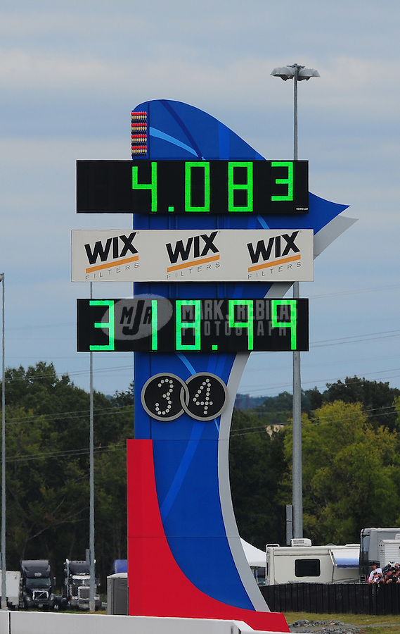 Sept. 18, 2011; Concord, NC, USA: Detailed view of the scoreboard for NHRA funny car driver Jack Beckman after running the national record speed during the O'Reilly Auto Parts Nationals at zMax Dragway. Mandatory Credit: Mark J. Rebilas-