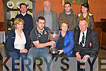 "Sheila Courtney, pictured as she presented the Michael Courtney Memorial trophy to Gerard Moynihan, Killarney Rugby Club after they won the ""Best interpretation of Theme"" in the Killarney St Patricks Day parade, in the International Hotel, Killarney on Thursday night. Also pictured are Anne Clifford, Junior Finnegan, Tom Campbell, Luke O'Sullivan, Colin McCarthy and April O'Leary. ...."