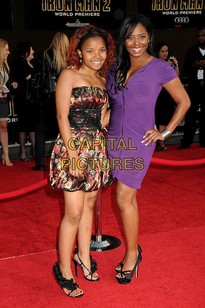"SHAR JACKSON (R) & DAUGHTER .""Iron Man 2"" World Premiere held at the El Capitan Theatre, Hollywood, California, USA, 26th April 2010..arrivals full length purple dress family hand on hip mom mum mother black platform shoes .CAP/ADM/BP.©Byron Purvis/AdMedia/Capital Pictures."