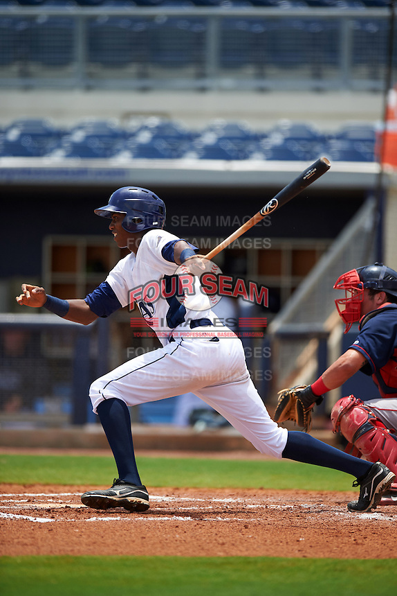 GCL Rays outfielder Miguel Hernandez (14) at bat during the second game of a doubleheader against the GCL Red Sox on August 4, 2015 at Charlotte Sports Park in Port Charlotte, Florida.  GCL Red Sox defeated the GCL Rays 2-1.  (Mike Janes/Four Seam Images)