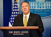 "United States Secretary of State Mike Pompeo briefs reporters on US President Trump's Executive Order titled ""Modernizing and Expanding Sanctions to Combat Terrorism"" in the Brady Briefing Room of the White House in Washington, DC on Tuesday, September 10, 2019.<br /> CAP/MPI/RS<br /> ©RS/MPI/Capital Pictures"