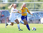 BROOKINGS, SD - AUGUST  22: Madison Chapman #19 from South Dakota State University gets a step in front of Taylor Howe #14 from Green Bay in the first half of their game Sunday afternoon at Fischback Soccer Field in Brookings. (Photo by Dave Eggen/Inertia)