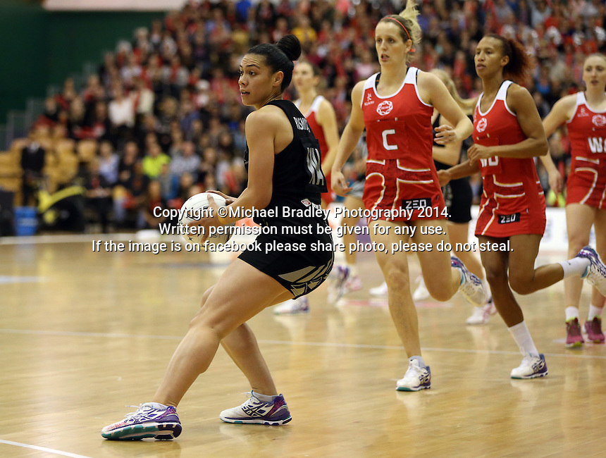 31.10.2014 Silver Ferns Grace Rasmussen in action during the Silver Ferns V England netball match played at the Arena Manawatu in Palmerston North. Mandatory Photo Credit ©Michael Bradley.