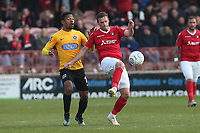 Angelo Balanta of Dagenham and Redbridge and Andy Drury of Ebbsfleet during Ebbsfleet United vs Dagenham & Redbridge, Vanarama National League Football at The Kuflink Stadium on 13th April 2019
