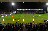 The pyrotechnics flare during the Rugby Championship match between the NZ All Blacks and Argentina Pumas at Yarrow Stadium in New Plymouth, New Zealand on Saturday, 9 September 2017. Photo: Dave Lintott / lintottphoto.co.nz