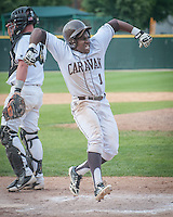 Mt Carmel's Jerry Houston as he crosses home plate with Mt. Carmel's first run of the Game in the sixth inning