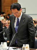 Washington, D.C. - February 24, 2010 --  Akio Toyoda, President and CEO, Toyota Motor Corporation prepares to sit down after being sworn-in to testify before the U.S. House Committee on Government and Reform examining the Federal government's response to the recall of millions of Toyota vehicles due to reports of malfunctioning gas pedals, and to gain a better understanding of the nature of the sudden acceleration problem in Toyota vehicles and what should be done about it..Credit: Ron Sachs / CNP.(RESTRICTION: NO New York or New Jersey Newspapers or newspapers within a 75 mile radius of New York City)