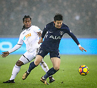 Son Heung-Min of Spurs & Renato Sanches of Swansea City  during the Premier League match between Swansea City and Tottenham Hotspur at the Liberty Stadium, Swansea, Wales on 2 January 2018. Photo by Mark Hawkins / PRiME Media Images.