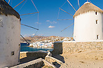 Little Venice as seen from the hilltop windmills in Mykonos Town on the island of Mykonos in Greece.