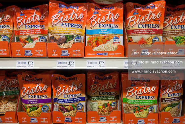 Uncle Ben's rice are seen on display in a Metro grocery store in Quebec city March 4, 2009. Uncle Ben's is owned by Mars, Inc. in the U.S. by its subsidiary Masterfoods